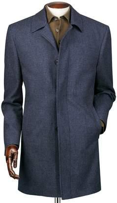 Charles Tyrwhitt Airforce Blue Puppytooth Weatherproof Wool Car Wool Coat Size 46