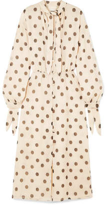 DAY Birger et Mikkelsen Nanushka - Zahara Pussy-bow Polka-dot Crinkled-chiffon Midi Dress - Cream