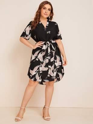 Shein Plus Notch Neck Belted Curved Hem Crane Print Dress