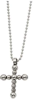 "Forza Stainless Steel Beaded Cross Pendant w/ 22"" Bead Chain"
