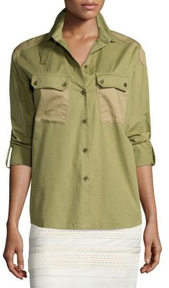 Belstaff Two-Tone Patch-Pocket Camp Shirt, Olive $550 thestylecure.com