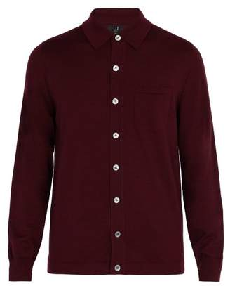 Dunhill Patch Pocket Wool Cardigan - Mens - Burgundy
