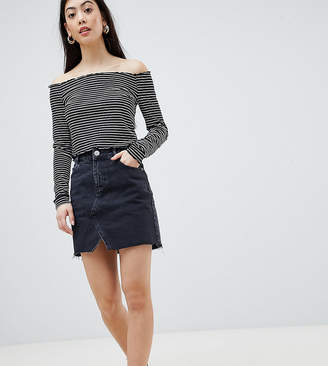 Asos DESIGN Petite denim pelmet skirt in washed black