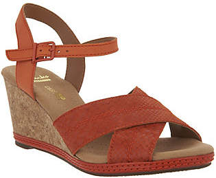 Clarks Leather Cork Wedge Sandals - HelioLatitude