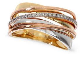 Effy 0.11 TCW Diamond 14K Tri-Tone Gold Crisscross Ring