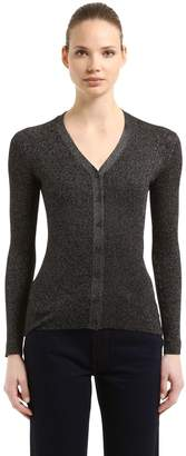 Prada Lurex Wool & Silk Rib Knit Cardigan