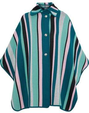 M Missoni Striped Metallic Wool-Blend Cape