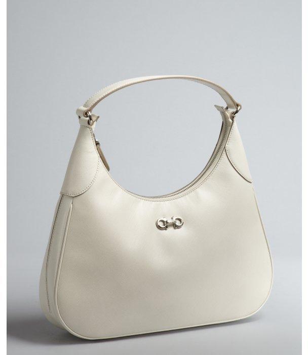 Salvatore Ferragamo ivory leather 'Romana' double gancio shoulder bag