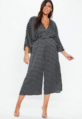 Missguided Plus Size Black Kimono Sleeve Polka Dot Romper