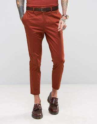 Devils Advocate Skinny Fit Rust Cotton Sateen Cropped Suit Pants