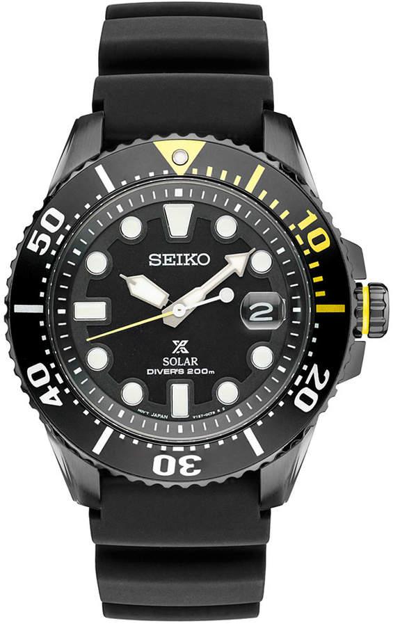 SeikoSeiko Men's Prospex Solar Diver Black Silicone Strap Watch 43mm SNE441