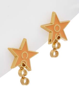 Chanel Gold-Tone & Orange Enamel Coco Star Earrings