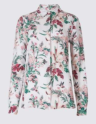 Marks and Spencer Linen Rich Floral Print Shirt