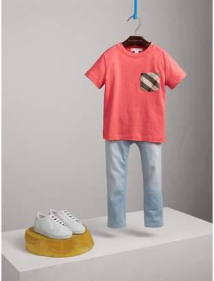 Burberry Check Pocket Cotton T-shirt