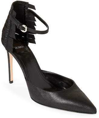 Rodo Black Ribbon-Accented Pointed Toe Ankle Strap Pumps