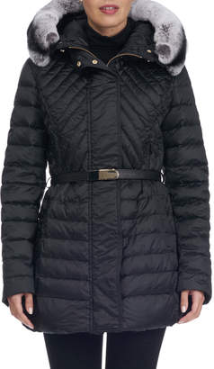 Gorski Apres-Ski Quilted Down Fill Jacket with Rabbit Trim Hood