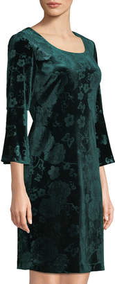 Karl Lagerfeld Paris Bell-Sleeve Velvet Sheath Dress