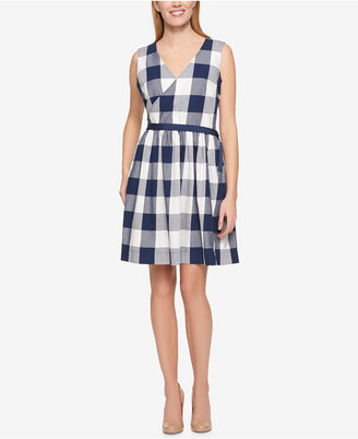 Tommy Hilfiger Cotton Checkered Wrap Dress, Only at Macy's $99.50 thestylecure.com