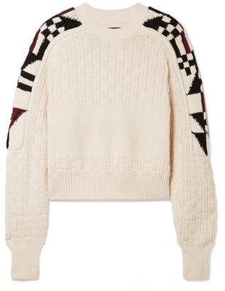 Isabel Marant Laytonn Intarsia Cotton-blend Sweater - Ecru
