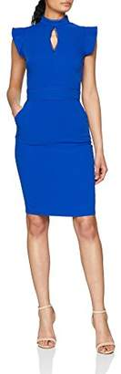 Paper Dolls Women's High Neck Fluted Keyhole Dress