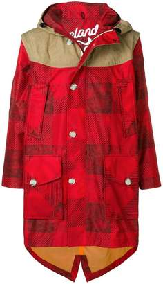 Woolrich contrast panel parka coat
