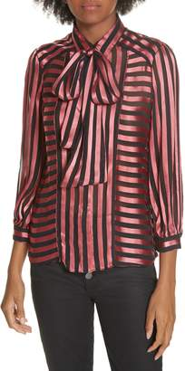 Alice + Olivia Tie Neck Shadow Stripe Blouse