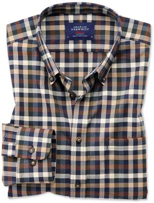Charles Tyrwhitt Slim Fit Button-Down Non-Iron Twill Brown Multi Check Cotton Casual Shirt Single Cuff Size XS