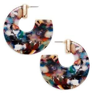 Ava & Aiden Goldtone Painterly Thick Hoop Earrings