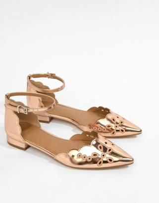 Asos Design DESIGN Luxe Laser Cut Ballet Flats