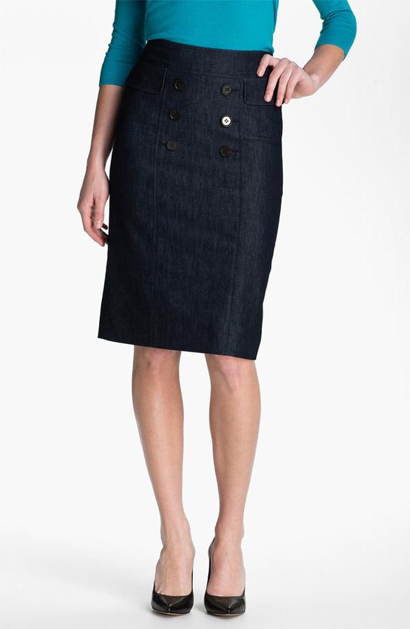 Halogen Double Button Front Denim Skirt