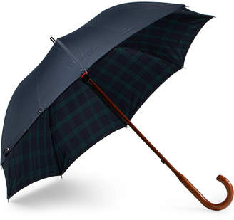 Black Watch-Lined Wood-Handle Umbrella
