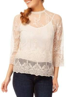 Dex Scallop-Trimmed Three-Quarter Sleeve Top