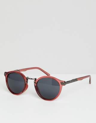 Asos DESIGN vintage round sunglasses in crystal burgundy
