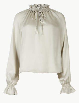 Marks and Spencer Tie Front Long Sleeve Blouse