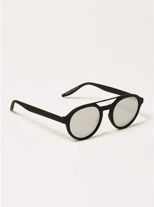 Topman Mens Black Round Mirrored Sunglasses