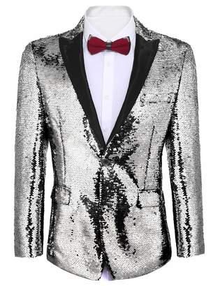 Etuoji Mens Shiny Sequins Suit Jacket Blazer One Button Tuxedo for Party,Nightclub,Wedding,Banquet,Prom