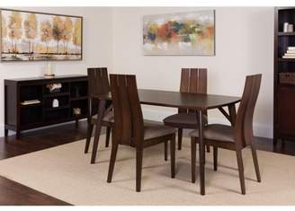 Flash Furniture Dearborn 5 Piece Espresso Wood Dining Table Set with Wide Slat Back Wood Dining Chairs - Padded Seats