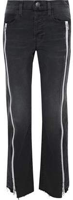 Current/Elliott Zip-Detailed Distressed Straight-Leg Jeans