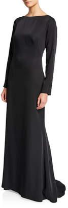 Tadashi Shoji High-Neck Illusion-Back Long-Sleeve Crepe Gown