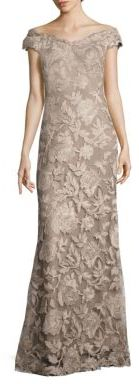 Tadashi Shoji Floral Embroidered Off-the-Shoulder Gown $548 thestylecure.com