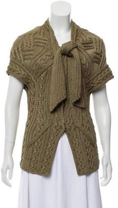 Oscar de la Renta Cable Knit Short Sleeve Cardigan