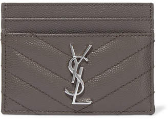 Saint Laurent Quilted Textured-leather Cardholder - Gray