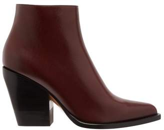 Chloé Western Leather Boots - Womens - Burgundy