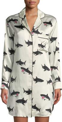 Olivia Von Halle Poppy Calving Shark-Print Silk Sleepshirt