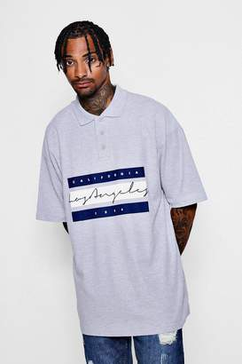 boohoo Oversized Los Angeles Print Polo