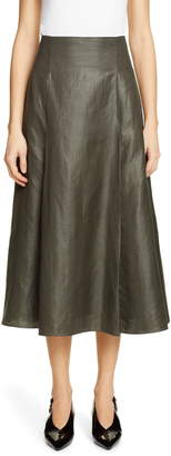 PARTOW Everly Coated Linen Blend Midi Skirt
