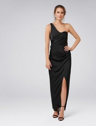 Forever New Camille Asymmetric One-Shoulder Drape Maxi Dress - Black - 4