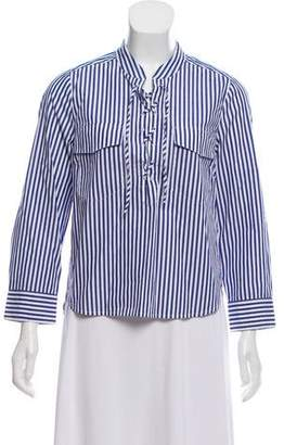Veronica Beard Striped Lace-Up Top