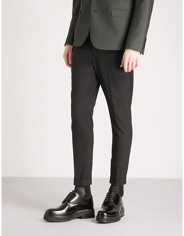 Chain stretch-wool trousers