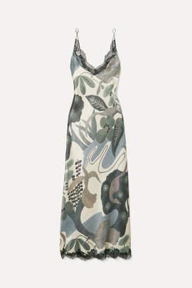 Carine Gilson Chantilly Lace-trimmed Printed Silk-satin Nightdress - Petrol